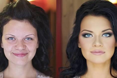 aşırı makyaj yapan kadın