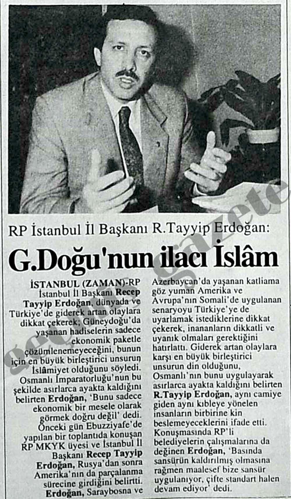 güneydoğunun ilacı islam