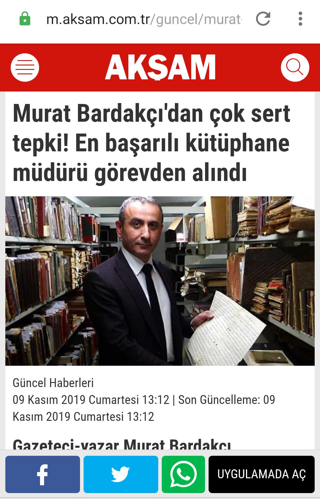 imamoğlu nun kütüphane müdürünü görevden alması