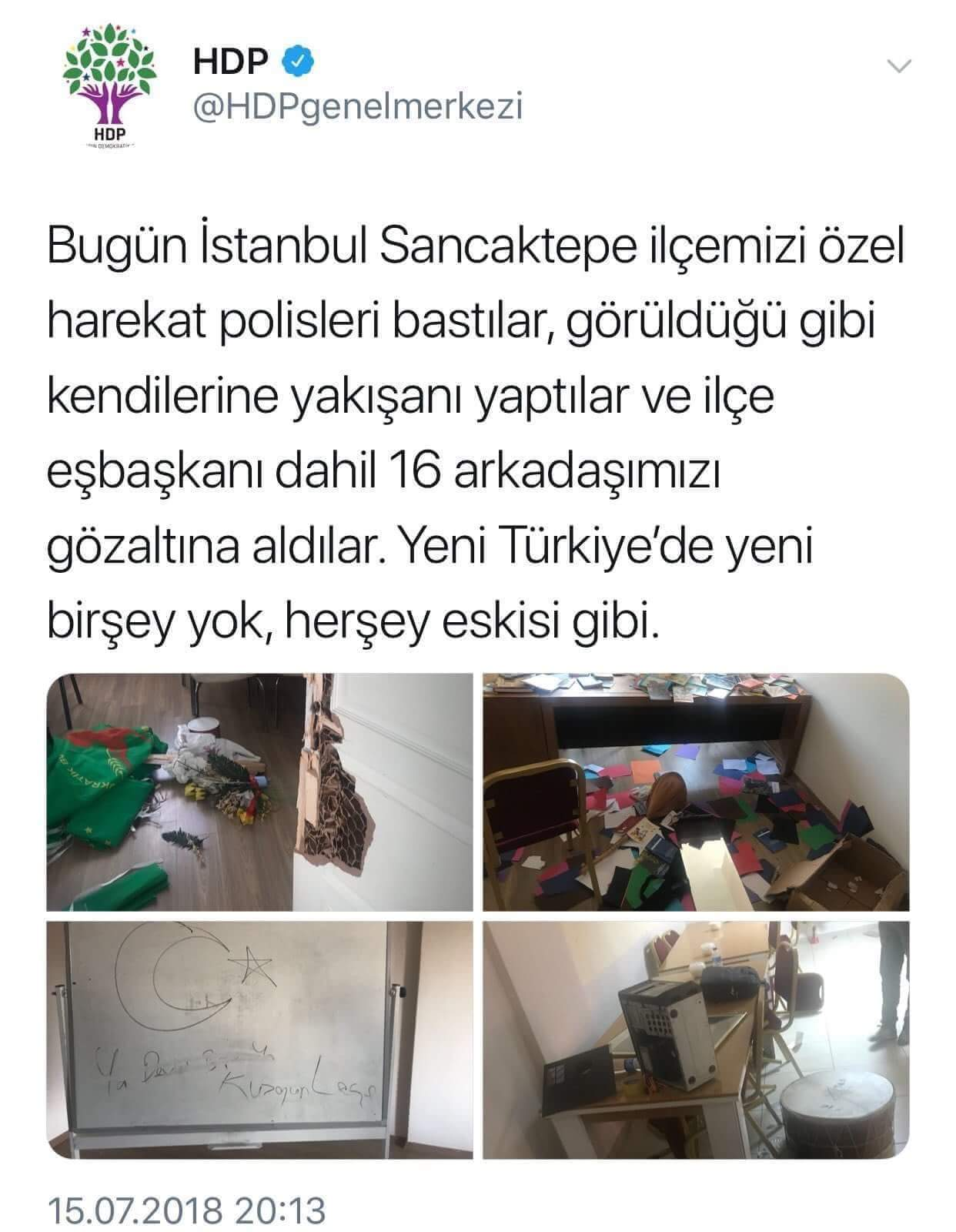 15 temmuz 2018 hdp nin attığı twit
