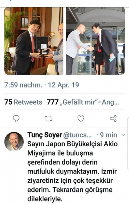 tunç soyer in japonca tweet atması