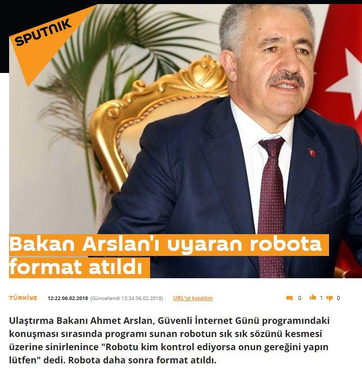 bakanın sözünü kesen robota format atılması