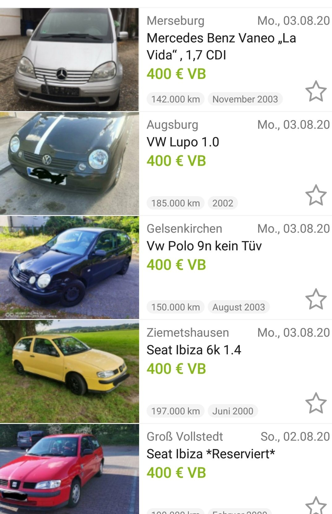 almanya da 400 euroya araba alabilmek