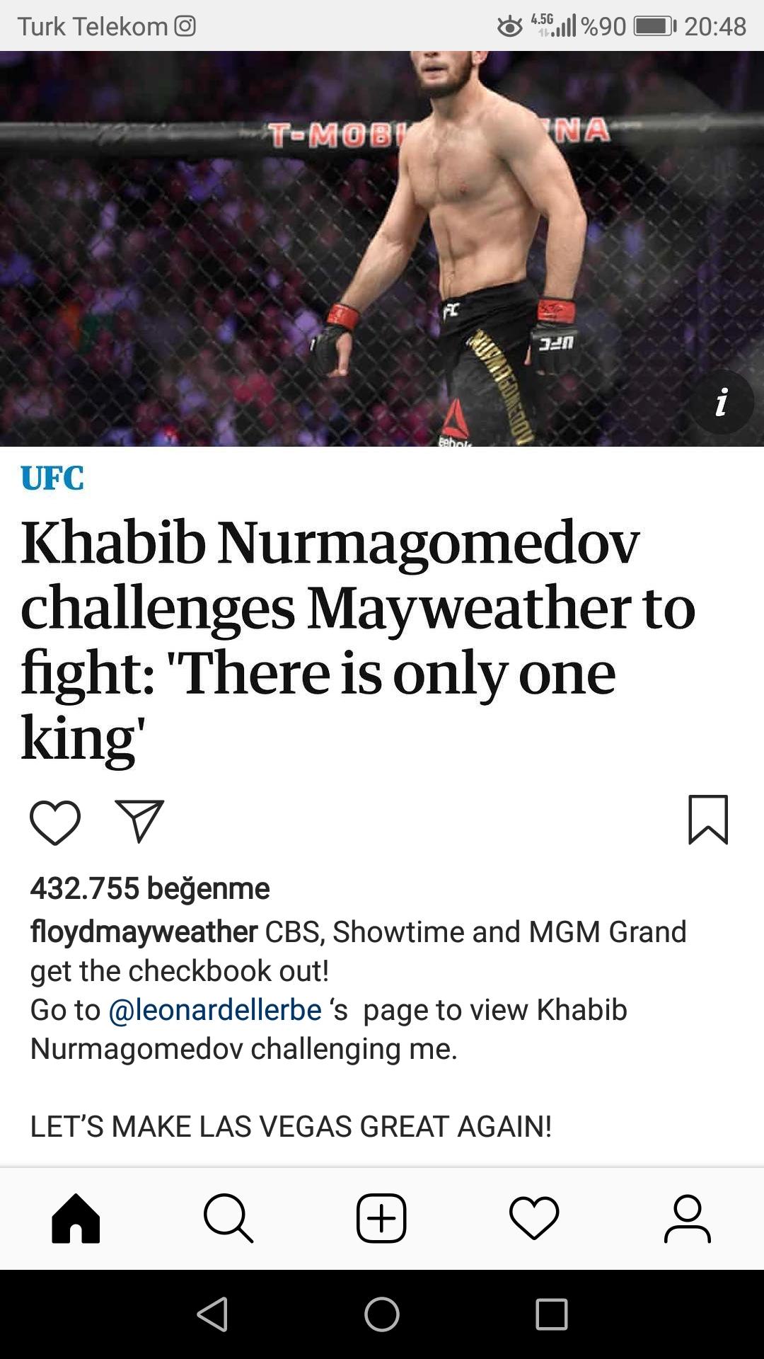 khabib in floyd mayweather a meydan okuması