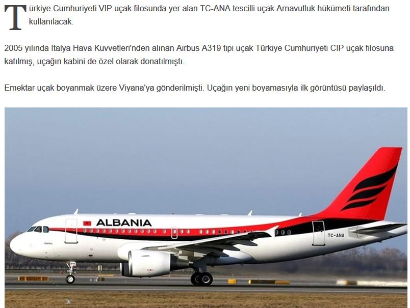 türkiye nin arnavutluk a uçak hediye etmesi